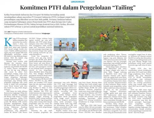 Komitmen PTFI dalam Pengelolaan Tailing