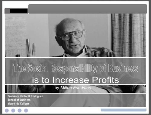 Milton Friedman dan Tanggung Jawab Sosial Perusahaan, 50 Tahun Kemudian